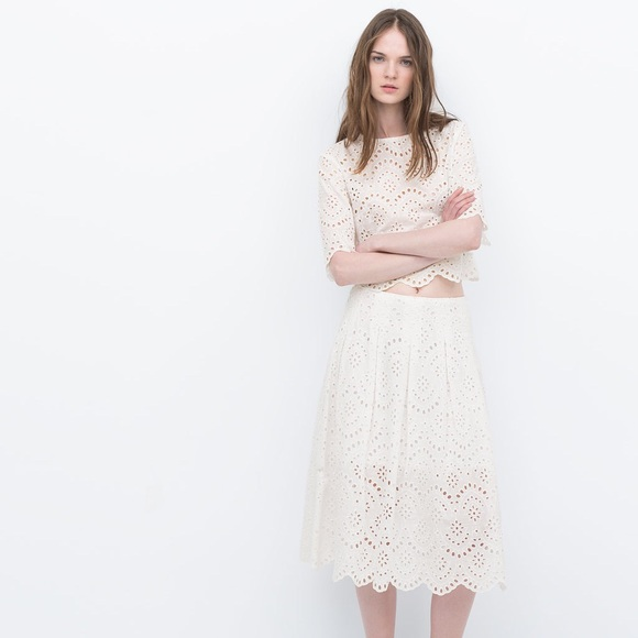 7ef84a969 Zara Dresses | Embroidered Eyelet Lace Crop Top Skirt Set | Poshmark